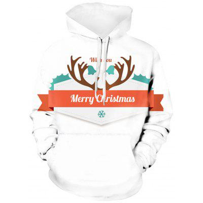 Hooded 3D Christmas Graphic Print Pullover Hoodie