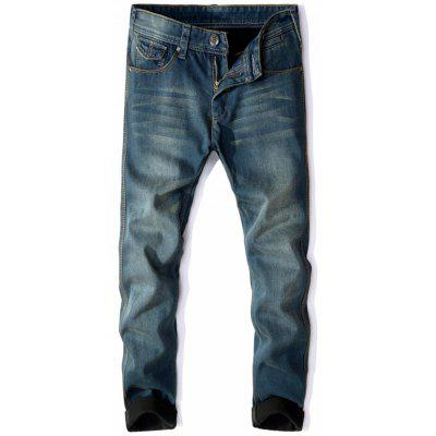 Zip Fly Flocking Thermal Denim Pants