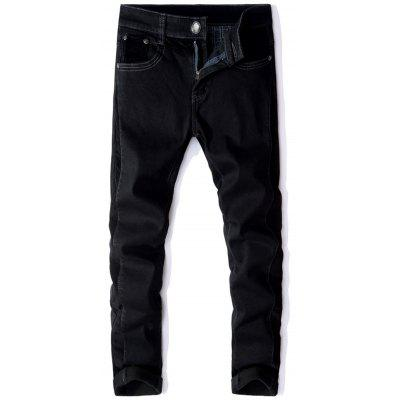 Straight Leg Corduroy Panel Elastic Flocking Jeans