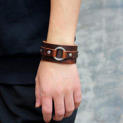 Vintage Faux Leather Circle Wide Bracelet