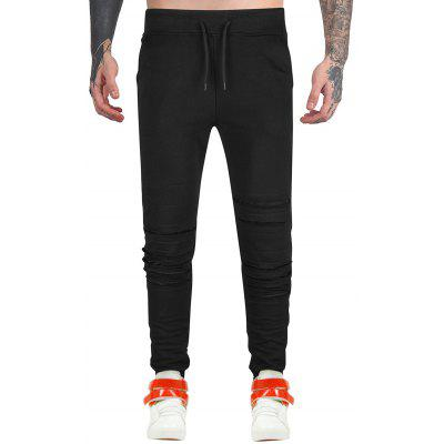 Drawstring Distressed Jogger Pants