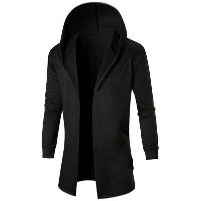 Stretch Long Hooded Open Front Coat