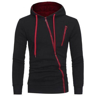 Oblique Zippers Color Block Fleece Hoodie