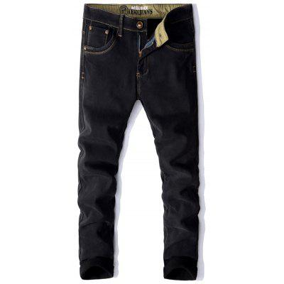 Nakış Pocket Zip Flocking Jeans Fly