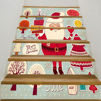 Santa Claus Gifts Trees Pattern Stair Stickers