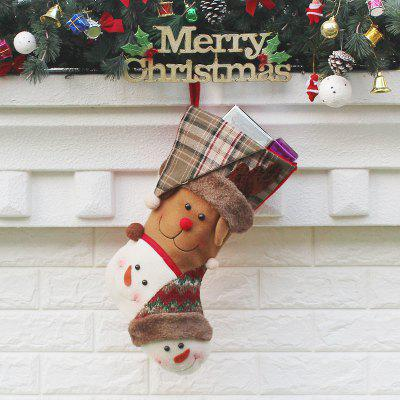 Elk And Snowmen Pattern Christmas Decor Gift Sock