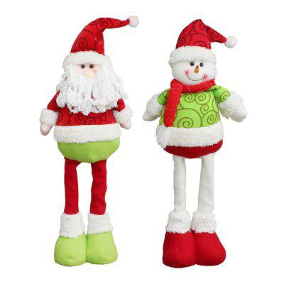 2Pcs Santa Claus Snowman Pattern Retractable Christmas Dolls