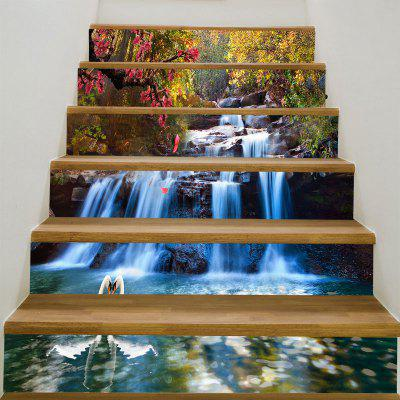 Forest Cascade Swans Printed Stair Stickers