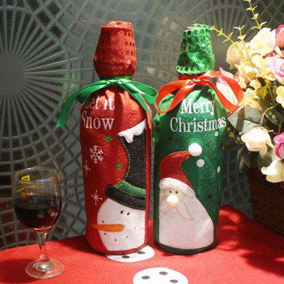 2PCS Embroidery Christmas Snowman and Santa Wine Bottle Bag Covers
