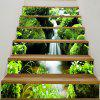 Mountains Stream Printed 6Pcs Stair Stickers - GREEN