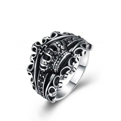 Vintage Crown Carving Gothic Style Titanium Ring
