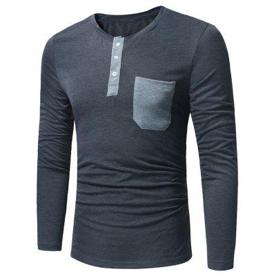 Crew Neck Pocket Henley T-Shirt