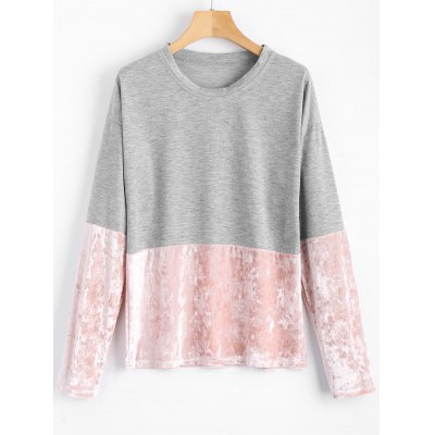 Crushed Velvet Panel Long Sleeve T-shirt