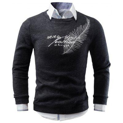 Feather Embroidery Crew Neck Sweater