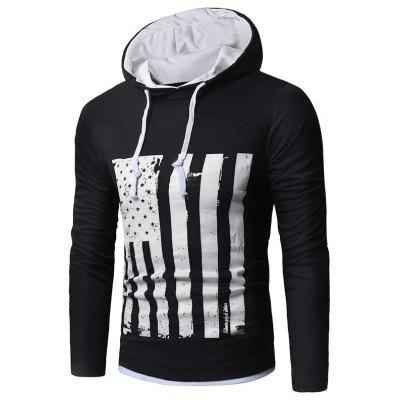 Hooded Distressed American Flag Print T-shirt