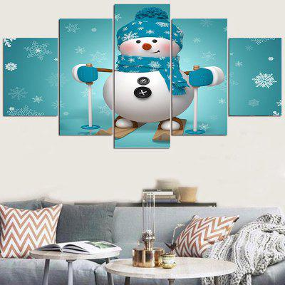 Skiing Snowman Pattern Wall Art Stickers