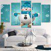 Skiing Snowman Pattern Wall Art Stickers - BLUE AND WHITE