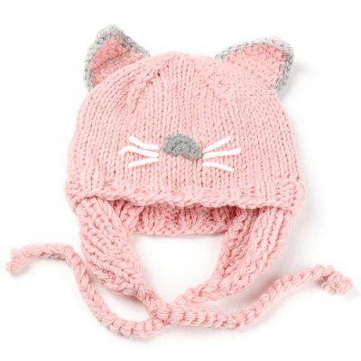 Cartoon Kitty Ear Embellished Crochet Knitted Beanie