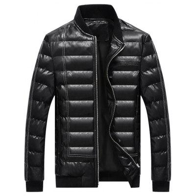 Zip Up Faux Leather Padded Bomber Jacket