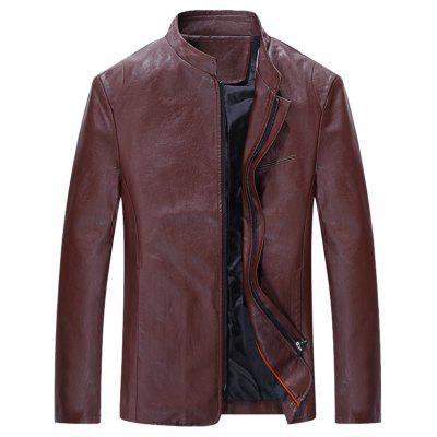Full Zip Grandad Collar Faux Leather Jacket
