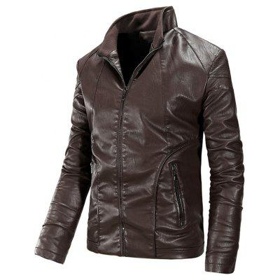 Flocking Faux Leather Jacket with Zipper Pocket