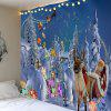 Sending Gifts Santa Claus Pattern Wall Decor Tapestry - LIGHT BLUE