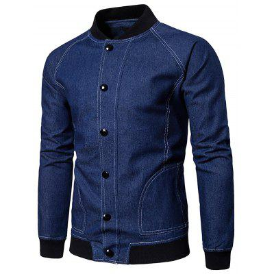 Suture Raglan Sleeve Denim Baseball Jacket