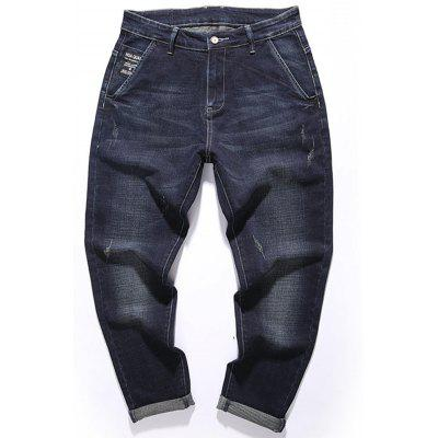 Zip Fly Graphic Tapered Fit Jeans