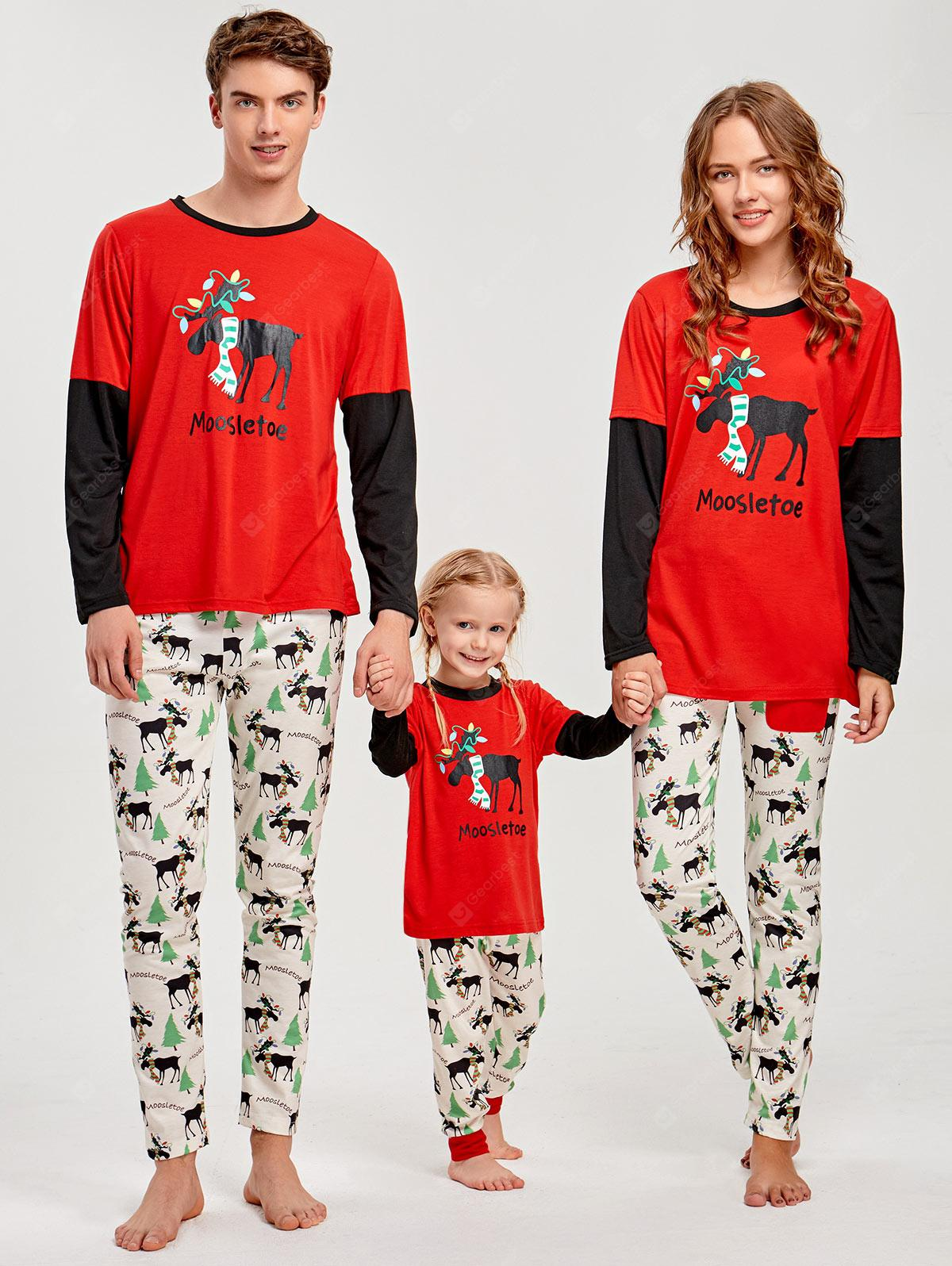 Matching Family Christmas Pajamas.Long Sleeve Elk Print Matching Family Christmas Pajama