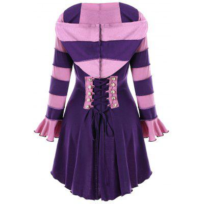 Hooded High Low Double Breasted Corset Coat