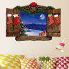 Christmas Wood Window Scenery Patterned Removable Wall Sticker - COLORMIX