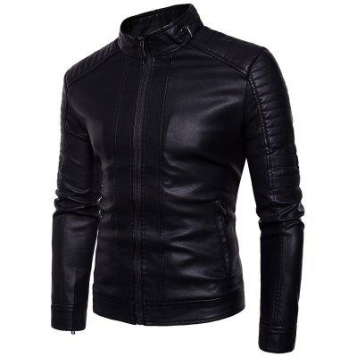 Куртка мужская из искусственной кожи со стойкой Men Leather Jacket,Trucker Jacket,Motocycle Jacket,Zip Leather Jacket,Stand Collar Leather Jacket фото
