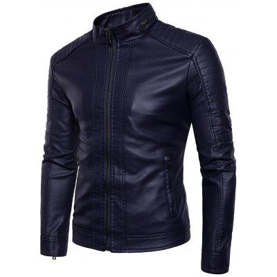 Motorcycle Rock Style Jacket with Stand Collar