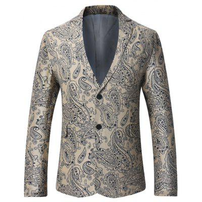 Fashion Nice Beige Single Breasted Paisley Print Male Linen Blazer Style Coat