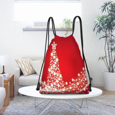 Snowflakes Christmas Tree Pattern Drawstring Candy Storage Bag
