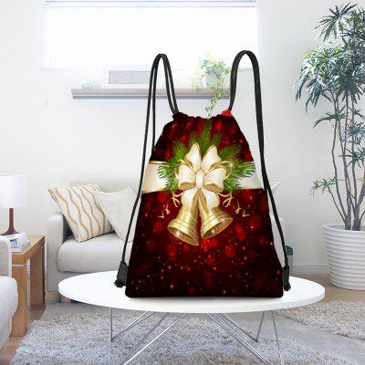 Christmas Bells Pattern Drawstring Candy Gift Storage Bag