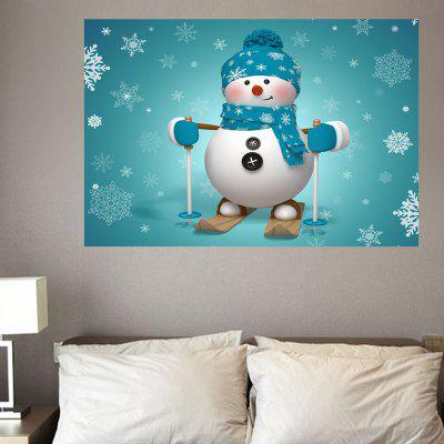 Skiing Snowman Pattern Cute Wall Art Stickers
