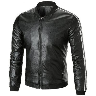 Stripe Trim Stand Collar Leatherette Jacket