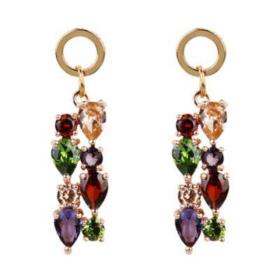 Faux Crystal Gem Teardrop Circle Earrings