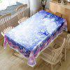 Snowy Christmas Snowman Print Waterproof Fabric Table Cloth - COLORMIX