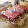 Christmas Baubles Greetings Print Waterproof Fabric Table Cloth - RED