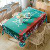 Merry Christmas Greetings Print Waterproof Fabric Table Cloth - GREEN