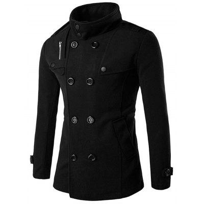 Funnel Collar Double Breasted Pea Coat