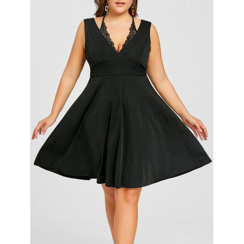 Plus Size High Waist Low Cut Dress