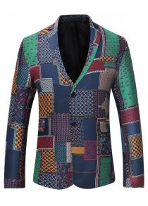 3027e7bd23ee Single Breasted Lapel Colorful Patchwork Fitted Linen Blazer Coat for Men