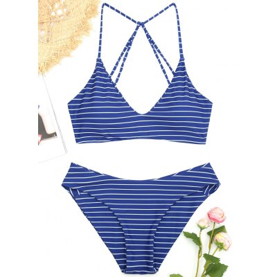 Striped Caged Bathing Suit