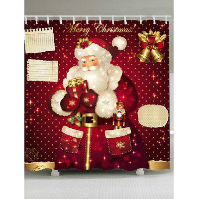 Christmas Bell Santa Claus Pattern Showerproof Bathroom Curtain
