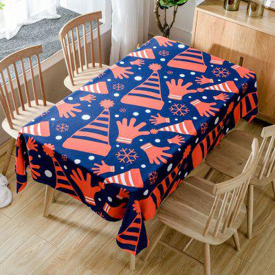Christmas Hats and Gloves Printed Waterproof Fabric Table Cloth