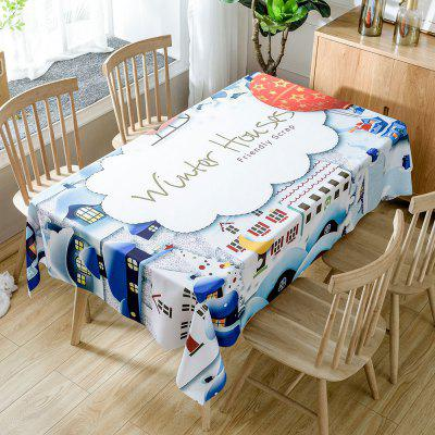 Christmas Winter Houses Printed Waterproof Fabric Table Cloth