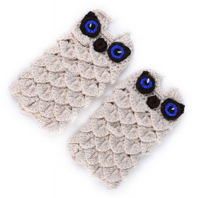 Cute Cartoon Owl Embellished Crochet Knitted Fingerless Gloves